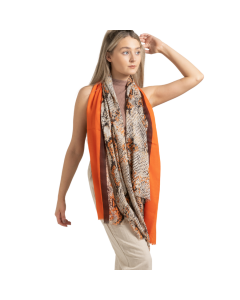 Two Tone Snakeskin Scarf Orange