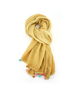 Multi Pompom Scarf Yellow