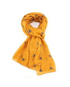 Tulip Doodle Scarf Yellow