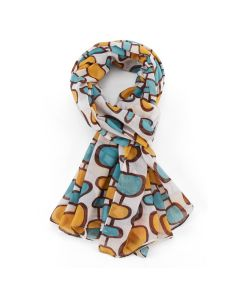 Retro Pattern Scarf White/Yellow
