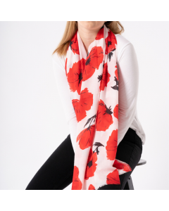 Painted Poppies Scarf White