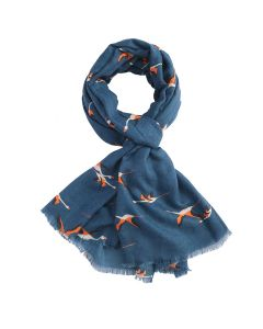Flying Flamingos Scarf Navy