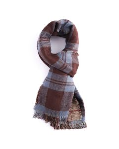 Double-Sided Check Scarf Blue