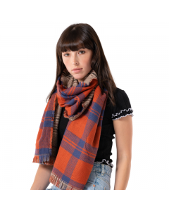 Double-Sided Check Scarf Orange