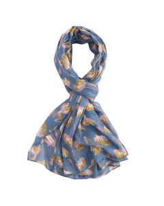 Open Tulips Scarf Blue