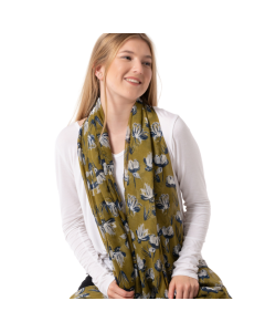 Open Tulips Scarf Green