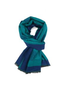 Trees with Border Scarf Teal