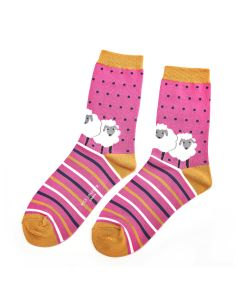 Sheep Friends Socks Hot Pink