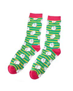 Mr Heron Sheep & Stripes Socks Green
