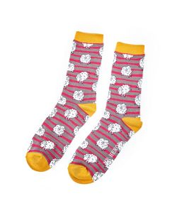 Mr Heron Sheep & Stripes Socks Grey