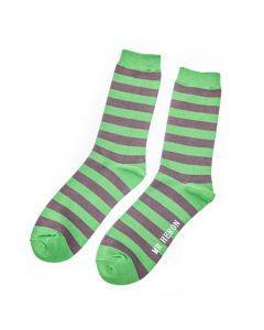 Mr Heron Single Colour Stripes Socks Green