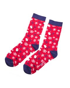 Snowflakes & Santas Socks Red