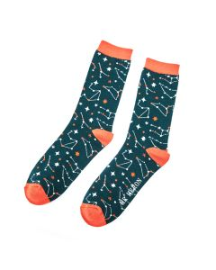 Mr Heron Star Signs Socks Teal