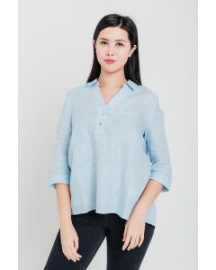 Blue Stripe Linen Open-Neck Blouse