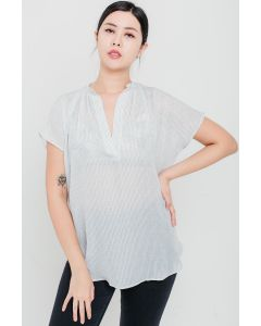 Silver Stripe Open-Neck Top