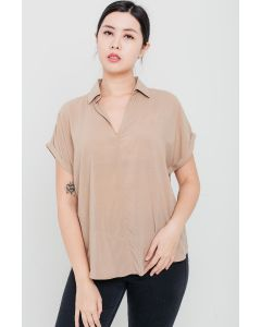 Camel Tencel Open-Neck Top