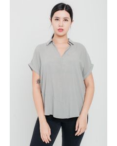 Grey Tencel Open-Neck Top