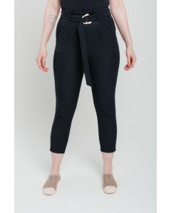 Black Buckle Peg Trousers