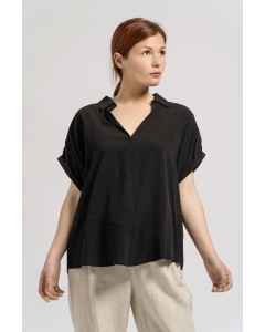 Black Tencel Open-Neck Top