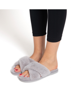 Faux Fur Cross Over Slippers Grey