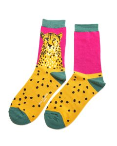 Wild Cheetah Socks Hot Pink
