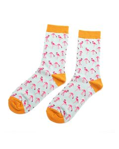 Wild Flamingo Socks Duck Egg