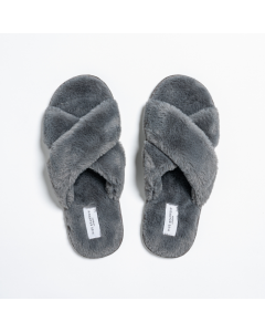 Faux Fur Cross Over Slippers Charcoal