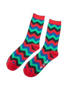 Mr Heron Zig Zag Socks Red